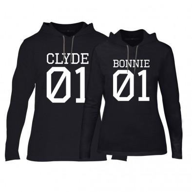 Φούτερ για ζευγάρια Bonnie 01 & Clyde 01 μαύρο TMN-CPS-025 2