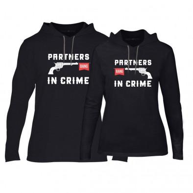 Φούτερ για ζευγάρια Partners in Crime μαύρο TMN-CPS-081 2