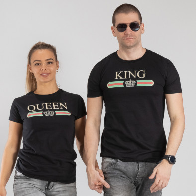 Μπλουζες για ζευγάρια Fashion King Queen μαύρο TMN-CP-245 3