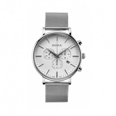 Ανδρικό ρολόι Doxa D-Light Steel White Dial Chronograph Watch
