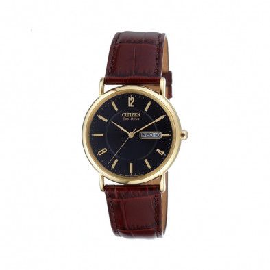 Ανδρικό ρολόι Citizen Eco-Drive Leather Black Gold Tone