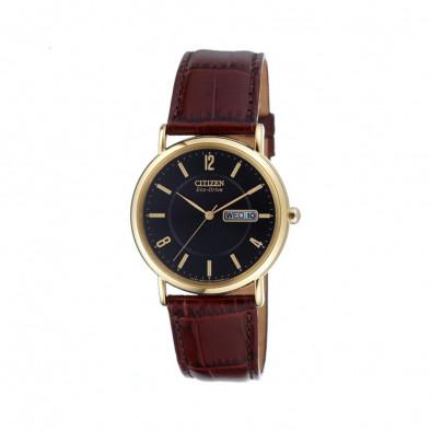 Ανδρικό ρολόι Citizen Eco-Drive Leather Black Gold Tone