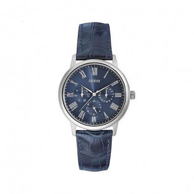 Ανδρικό ρολόι Guess Wafer Blue Dial Blue Leather Strap W0496G3