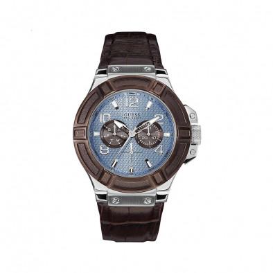 Ανδρικό ρολόι Guess Rigo Blue Dial Brown Leather Band W0040G10