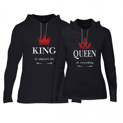 Φούτερ για ζευγάρια King Queen μαύρο TMN-CPS-114 2
