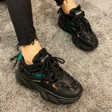 Γυναικεία μαύρα Chunky sneakers με δίχτυ it110221-9 5