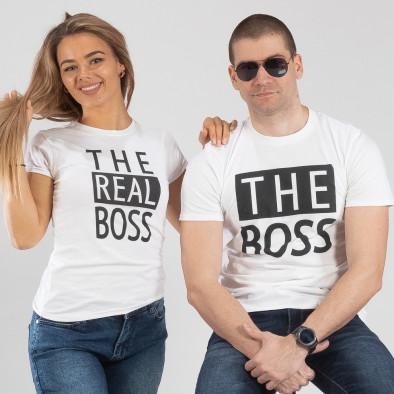 Μπλουζες για ζευγάρια The Actual Boss λευκό TMN-CP-246 3