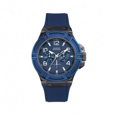 Ανδρικό ρολόι Guess Rigor Blue Dial Blue Silicon Strap W0248G5