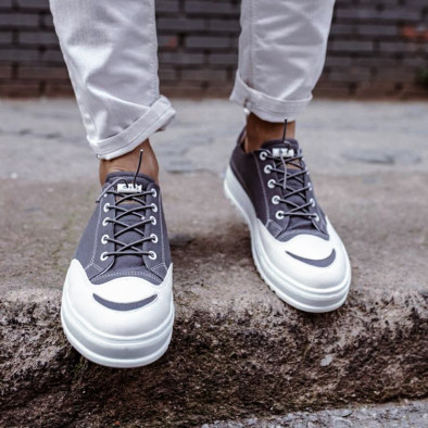 Ανδρικά γκρι πάνινα παπούτσια tr210721-2 5