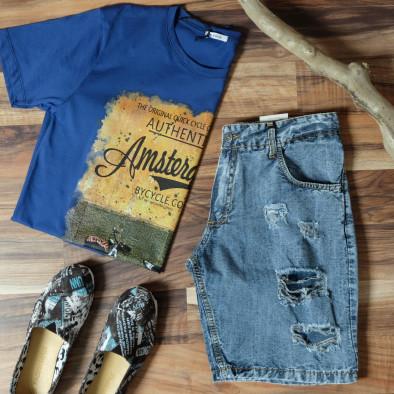Ανδρική γαλάζια κοντομάνικη μπλούζα D.Park it010720-24 4