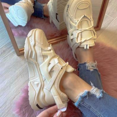 Γυναικεία μπεζ Chunky sneakers με δίχτυ it110221-10 5