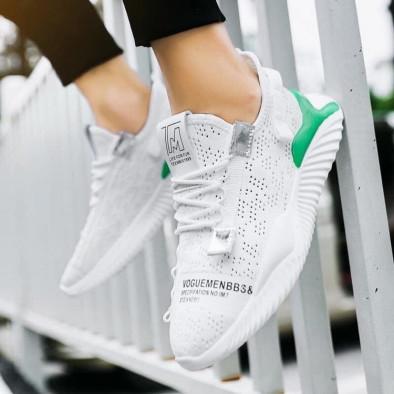 Ανδρικά λευκά sneakers με πρασινή λεπτομέρεια gr020221-4 3