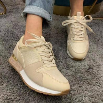Γυναικεία μπεζ sneakers με λεπτομέρεια glitter it110221-6 5