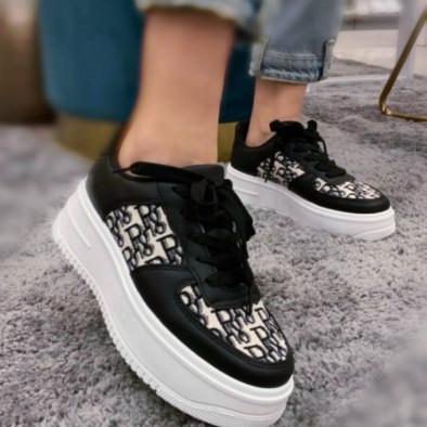 Γυναικεία μαύρα sneakers με πλατφορμα it110221-3 5