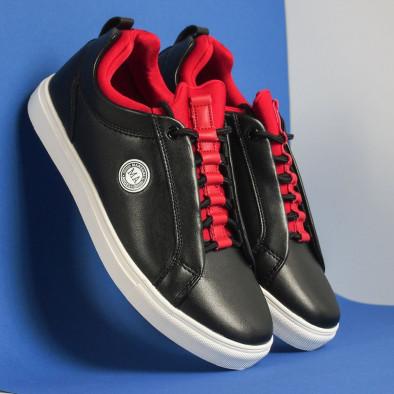 Ανδρικά μαύρα sneakers με κόκκινη λεπτομέρεια it051219-5 5
