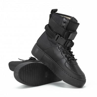 Γυναικεία μαύρα ψηλά sneakers All black με αξεσουάρ it150818-62 3