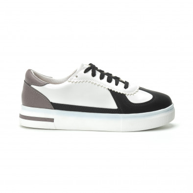 Γυναικεία λευκά sneakers με μαύρες- μπεζ λεπτομέρειες it250119-44 2