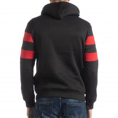 Ανδρικό φούτερ σε μαύρο και κόκκινο με επένδυση it051218-37 3
