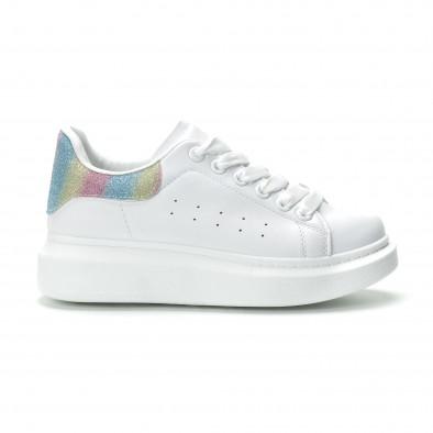 Γυναικεία λευκά sneakers με πολύχρωμη λεπτομέρεια it250119-91 2