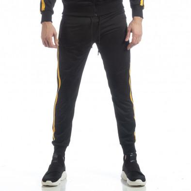 Ανδρική μαύρη φόρμα Biker με κίτρινη ρίγα it040219-67 3