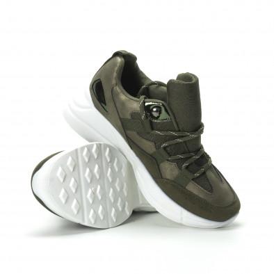 Γυναικεία χακί sneakers με πλατφόρμα it250119-35 5