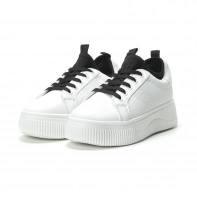 Γυναικεία λευκά sneakers με διακοσμητικό καλτσάκι it250119-85 3