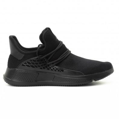 Ανδρικά μαύρα αθλητικά παπούτσια ελαφρύ μοντέλο it301118-7 2