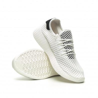 Ανδρικά λευκά αθλητικά παπούτσια Mesh με μαύρες λεπτομέρεις it230519-9 4