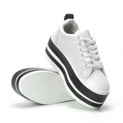 Γυναικεία λευκά sneakers με πλατφόρμα και μαύρες λωρίδες it250119-99 4