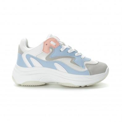 Γυναικεία λευκά αθλητικά παπούτσια με παστέλ λεπτομέρειες it270219-6 2