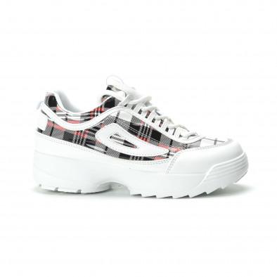 Γυναικεία λευκά καρέ sneakers με Chunky πλατφόρμα it250119-53 2
