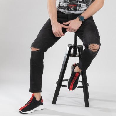 Ανδρικά μαύρα πλεκτά αθλητικά παπούτσια  it150319-14 2