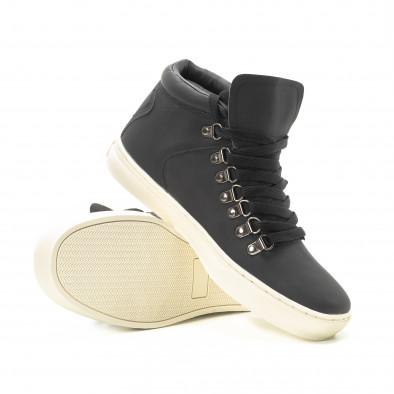 Ανδρικά μαύρα ψηλά sneakers με κορδόνια it301118-11 4