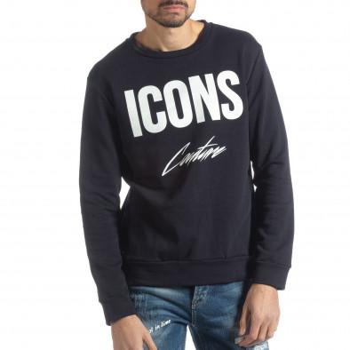Ανδρική σκούρα μπλε βαμβακερή μπλούζα ICONS it051218-45 2