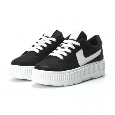 Γυναικεία μαύρα sneakers με πλατφόρμα και λευκή λεπτομέρεια it250119-96 3
