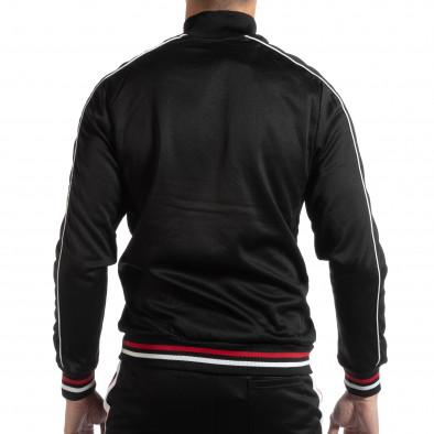 Ανδρική μαύρη ζακέτα με λευκές και κόκκινες ρίγες it261018-79 3