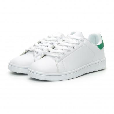 Γυναικεία Basic λευκά αθλητικά παπούτσια με πράσινη λεπτομέρειεα it150319-56 3