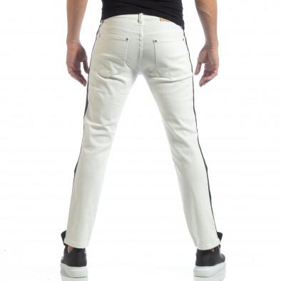 Ανδρικό λευκό τζιν με μαύρες ρίγες it040219-26 4