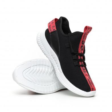 Ανδρικά μαύρα υφασμάτινα αθλητικά παπούτσια με κόκκινη επιγραφή it110919-4 5