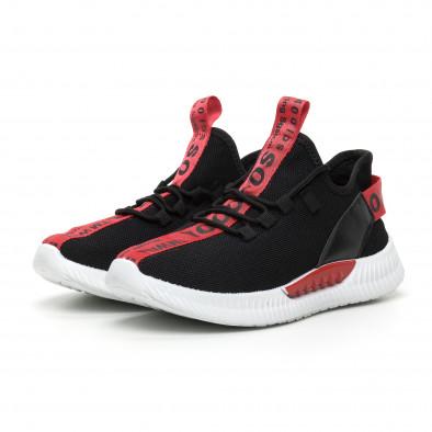 Ανδρικά μαύρα υφασμάτινα αθλητικά παπούτσια με κόκκινη επιγραφή it110919-4 4