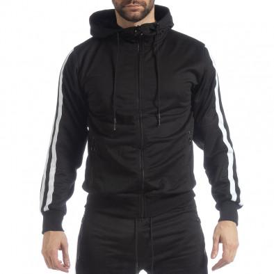 7e6abe12644e Ανδρική μαύρη Biker ζακέτα με λευκές ρίγες it040219-105 - Fashionmix.gr