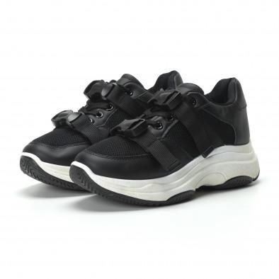 Γυναικεία μαύρα sneakers με μοντέρνο κούμπωμα it250119-62 3