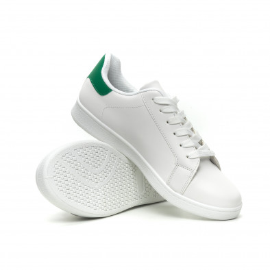 Ανδρικά λευκά αθλητικά παπούτσια με πράσινη λεπτομέρεια it040619-1 4