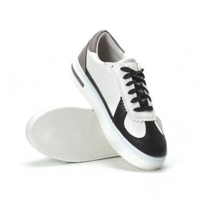 Γυναικεία λευκά sneakers με μαύρες- μπεζ λεπτομέρειες it250119-44 4