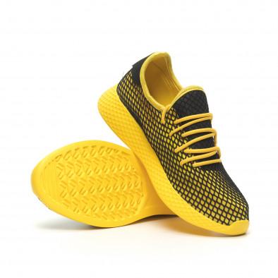 Ανδρικά κίτρινα αθλητικά παπούτσια Mesh με μαύρες λεπτομέρειες it230519-10 4