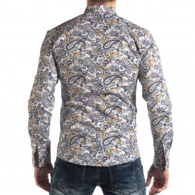 Ανδρικό λευκό πουκάμισο με κίτρινα διακοσμητικά μοτίβα it210319-89 4