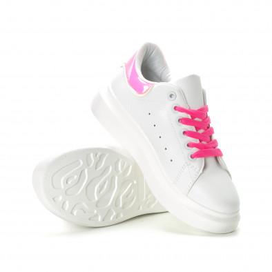 Γυναικεία λευκά sneakers με ροζ λεπτομέρειες it270219-9 5