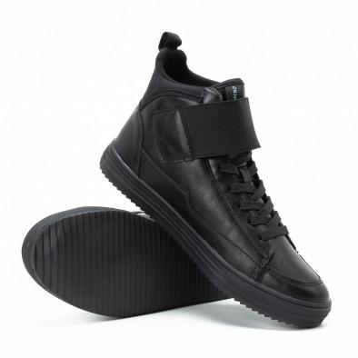 Ανδρικά μαύρα sneakers με αυτοκόλλητο it140918-8 4