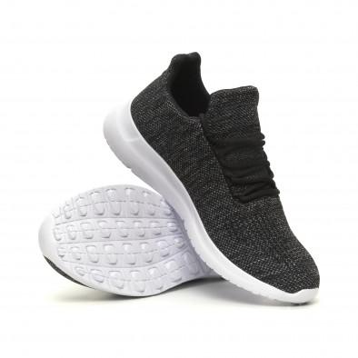 Ανδρικά μαύρα μελάνζ αθλητικά παπούτσια ελαφρύ μοντέλο με διακόσμηση it040619-7 4