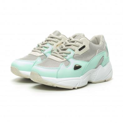 Γυναικεία πράσινα αθλητικά παπούτσια με χοντρή σόλα it230519-18 3